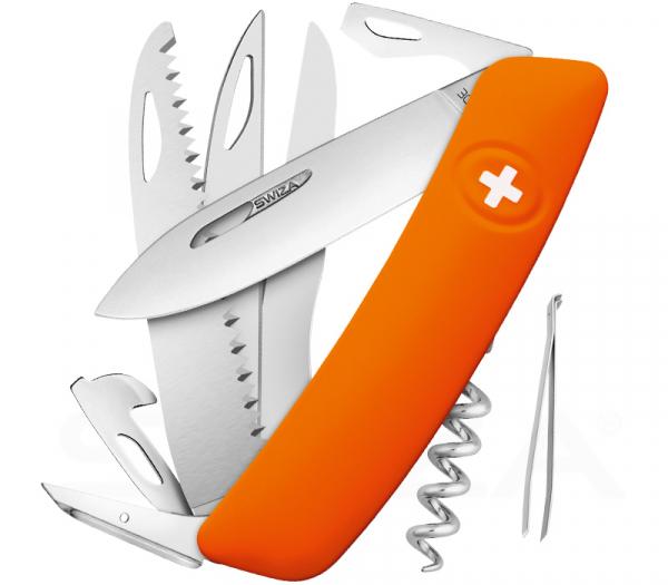 Swiza Taschenmesser mit Orangenfarbenen Griff D09-Serie