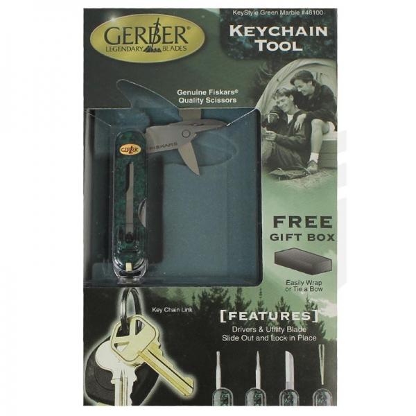 Keychain Tool Green Marble